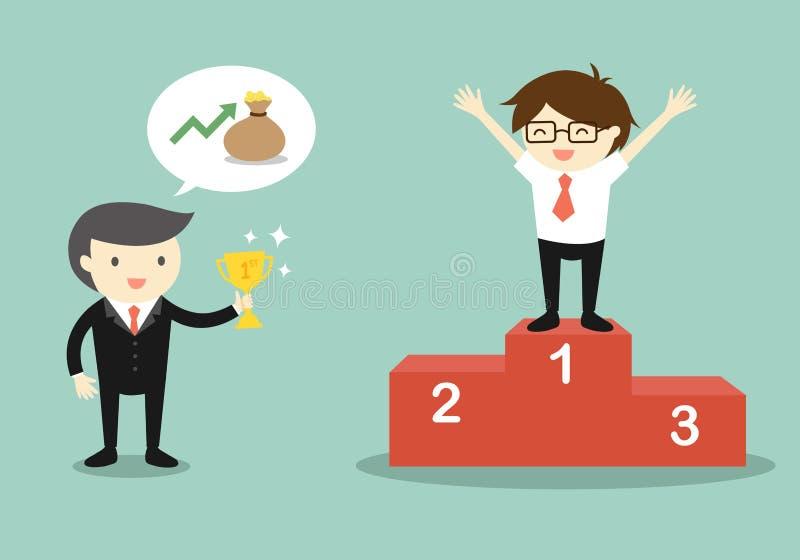 Le concept d'affaires, patron donnent un trophée à l'homme d'affaires illustration libre de droits
