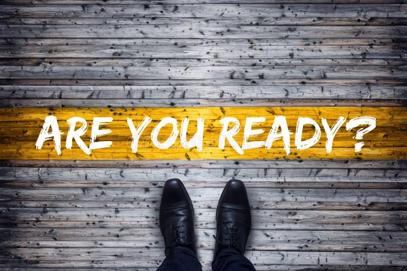 Le concept d'affaires sont vous préparent ? - Chaussures noires se tenant chez Starti photographie stock