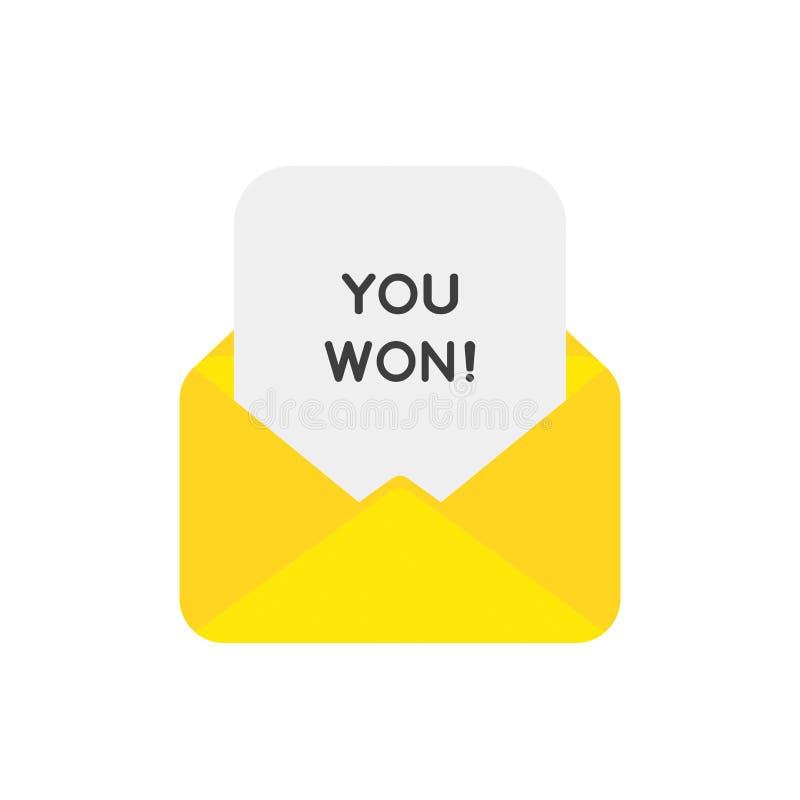 Le concept d'icône de vecteur de l'enveloppe de courrier avec vous a gagné sur le papier illustration libre de droits