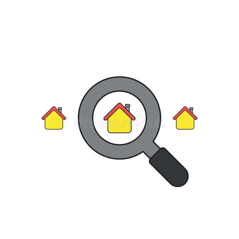 Le concept d'icône de vecteur de recherchent la maison avec la loupe Contours noirs et color? illustration de vecteur