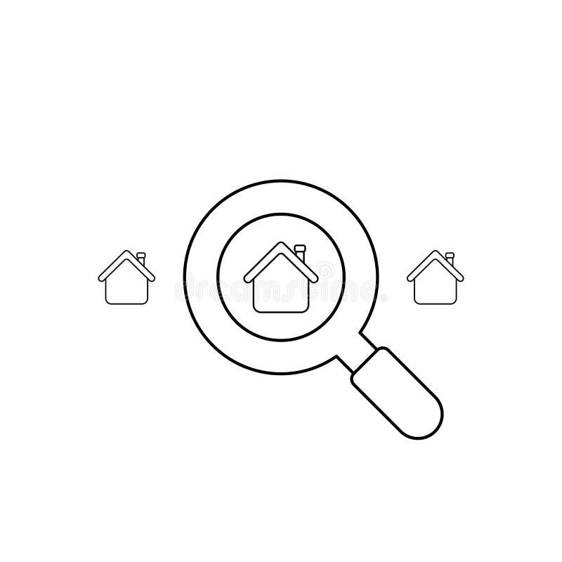 Le concept d'ic?ne de vecteur de recherchent la maison avec la loupe Contour noir illustration de vecteur