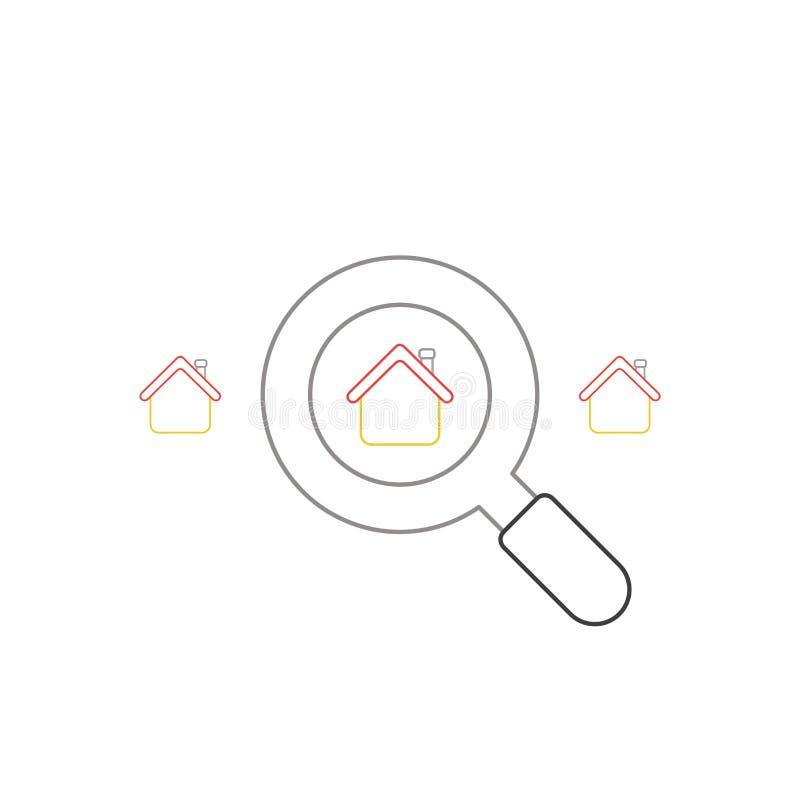 Le concept d'ic?ne de vecteur de recherchent la maison avec la loupe illustration stock