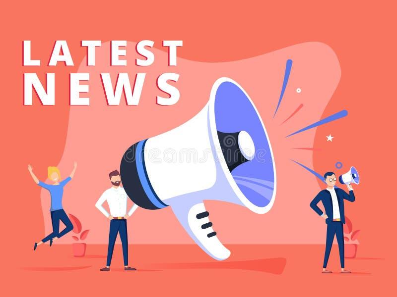 Le concept d'illustration de vecteur de dernières nouvelles, cri de personnes sur le mégaphone avec le mot de dernières nouvelles illustration de vecteur