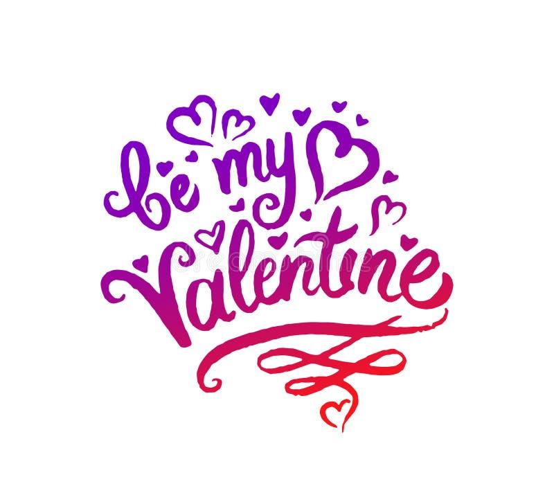 Le concept d'illustration de vecteur de soit mon mot de Valentine marquant avec des lettres l'icône colorée illustration libre de droits