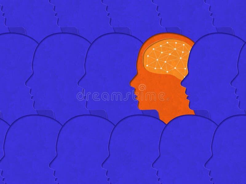 Le concept d'illustrations de pensent différent Escroquerie de papercut de style d'art illustration libre de droits