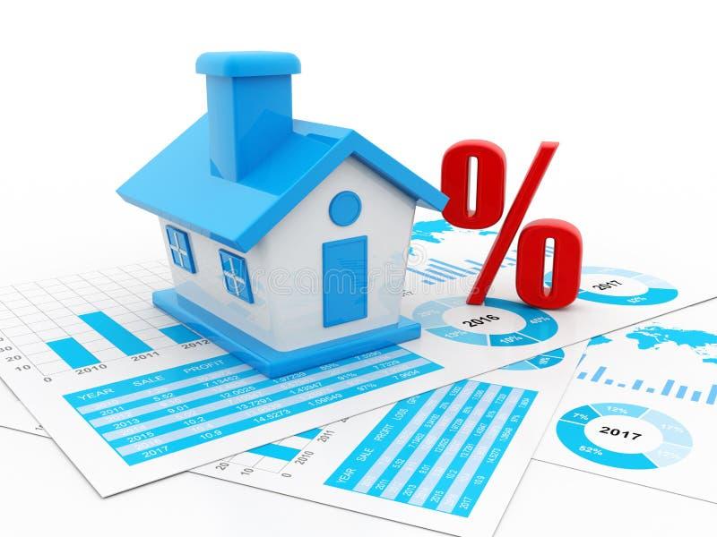 Le concept d'immobiliers, 3D rendent illustration stock