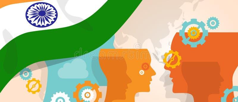 Le concept d'Inde de l'innovation croissante de pensée discutent futur fulminer de cerveau de pays sous la vue différente représe illustration libre de droits