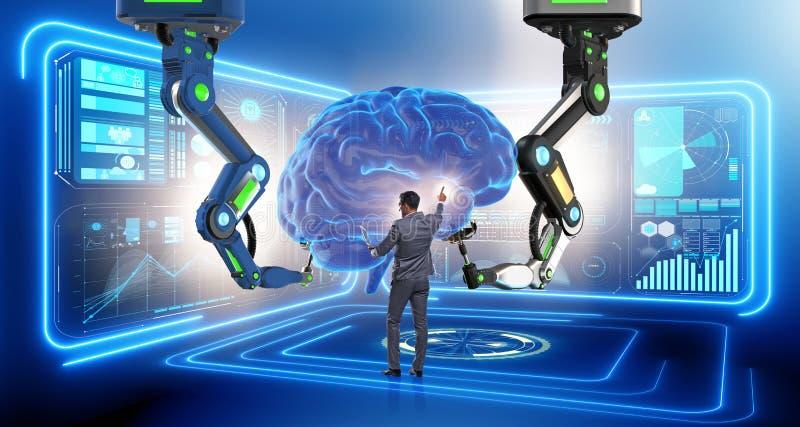 Le concept d'intelligence artificielle avec l'homme d'affaires photo libre de droits