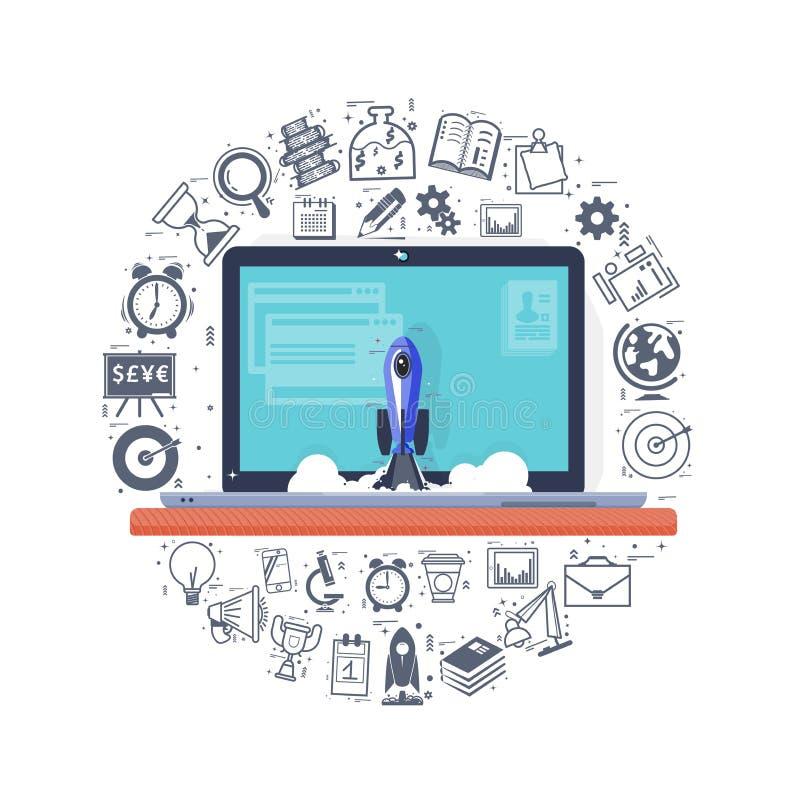Le concept d'un démarrage, une fusée vole d'un ordinateur portable, icônes sont situés autour de l'ordinateur, dans un cercle Lig illustration de vecteur