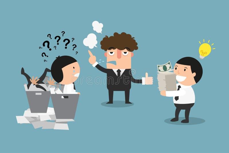 Le concept d'un patron sélectionnant le bon employé illustration stock