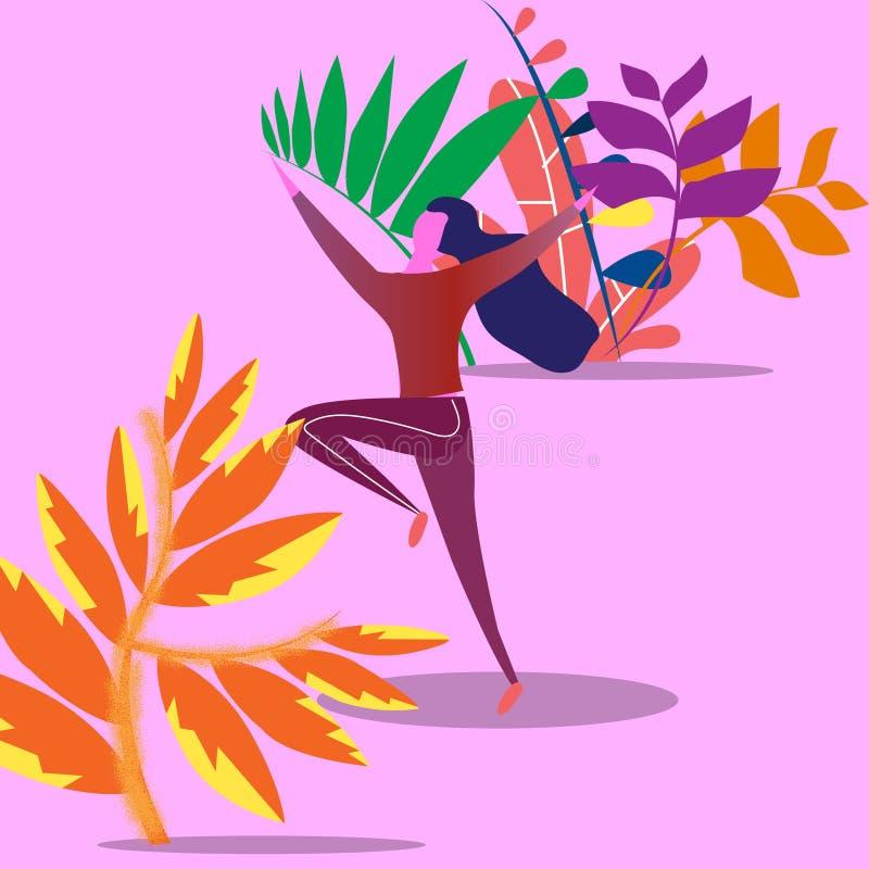 Le concept d'une jeune femme sautant de l'émotion du bonheur en parc sur un fond d'usine dénommer le vecteur moderne illustration de vecteur