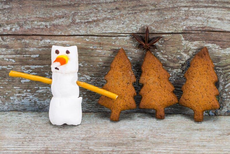 Le concept 2018 de bonne année - bonhomme de neige drôle de guimauve et engourdissent photos stock