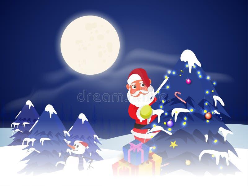 Le concept de célébration de Joyeux Noël, neige a couvert des arbres de Noël avec illustration de vecteur