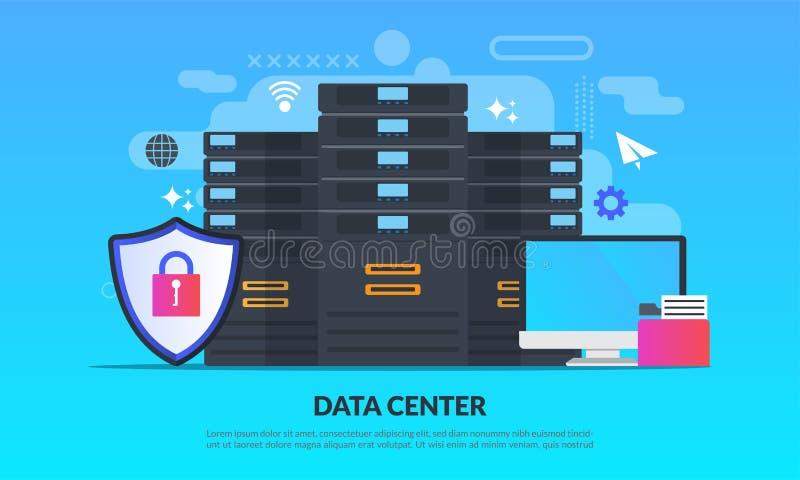Le concept de centre de traitement des données, technologie de la protection des données et du traitement, serveur principal de c illustration libre de droits