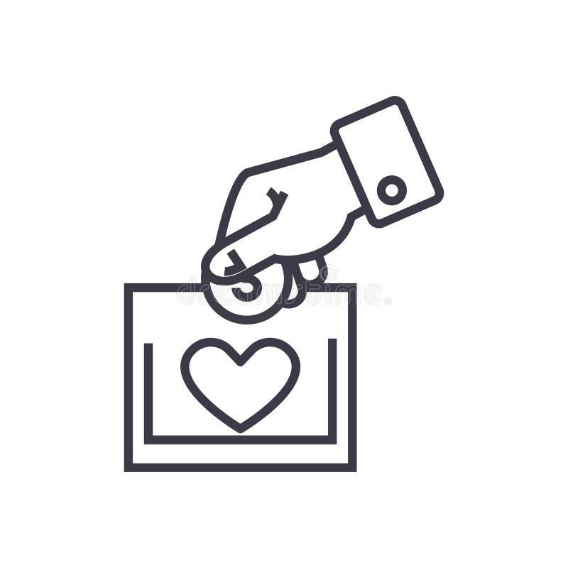 Le concept de charité et de donation dirigent la ligne mince icône illustration de vecteur