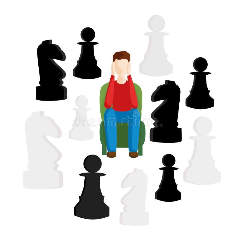 Le concept de choisir le chemin, une décision difficile Métaphores d'affaires de décision illustration libre de droits