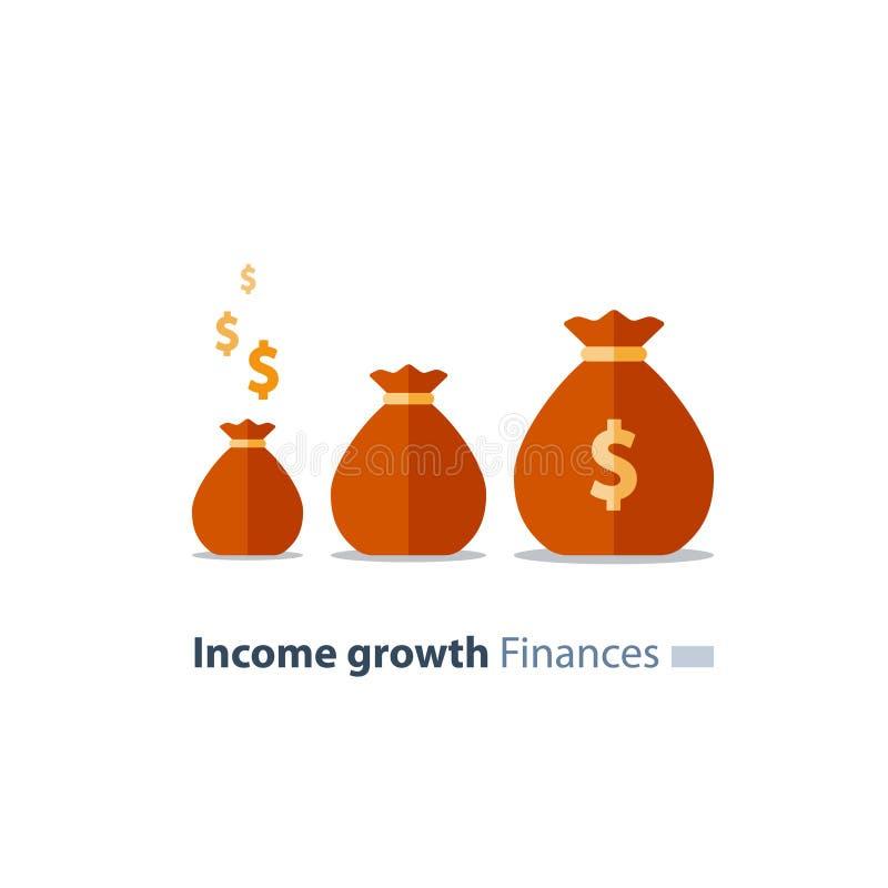 Le concept de collecte de fonds, futur investissement, le temps, c'est de l'argent, fonds de pension, finances de cotisations de  illustration stock