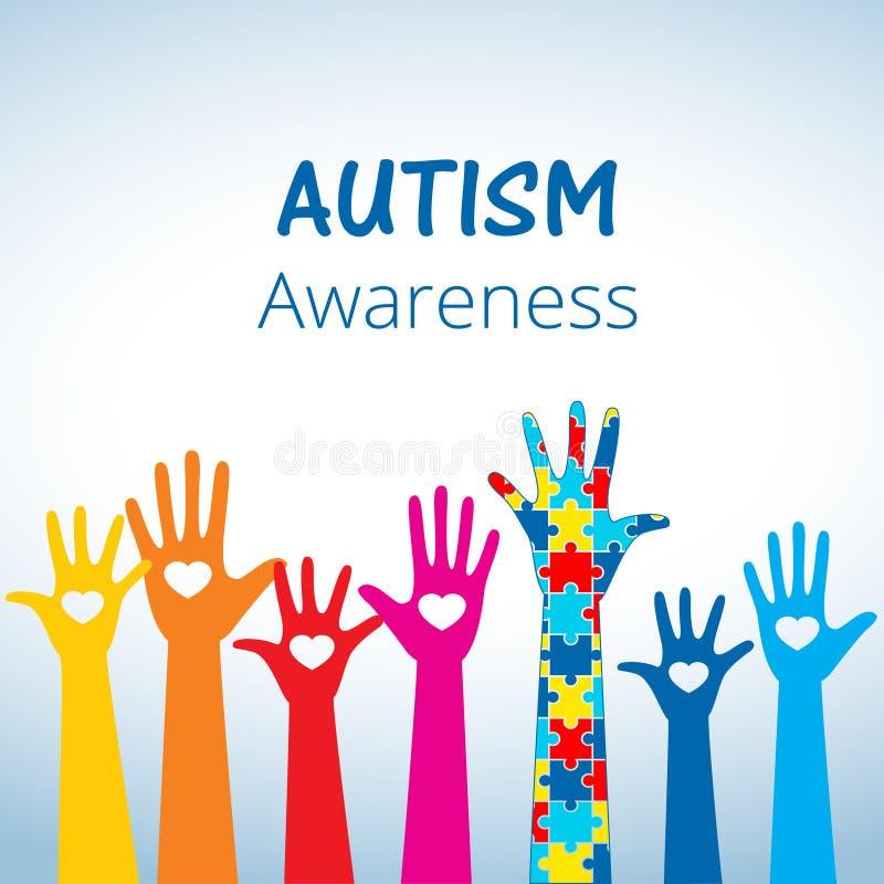 Le concept de conscience d'autisme avec la main du puzzle rapièce illustration stock