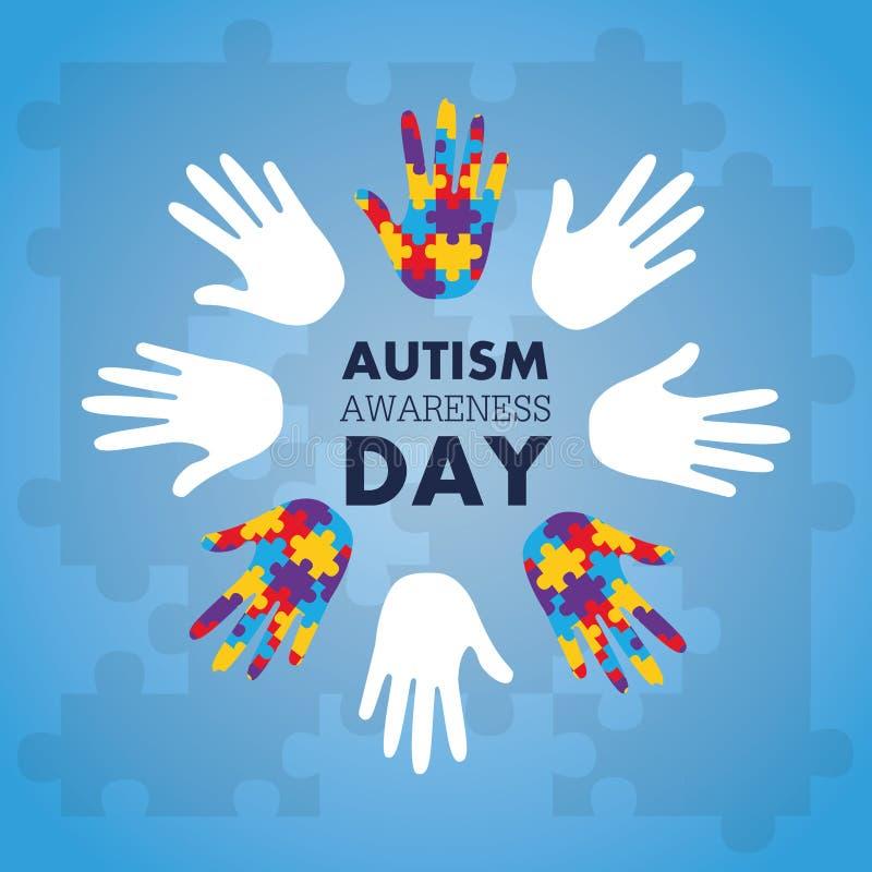 Le concept de conscience d'autisme avec la main du puzzle rapièce comme symbole illustration stock
