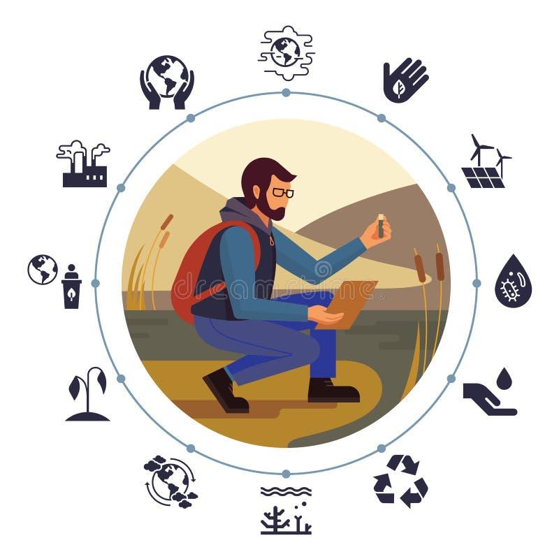 Le concept de construction avec l'image d'un homme barbu en verres et avec un écologiste de sac à dos illustration stock
