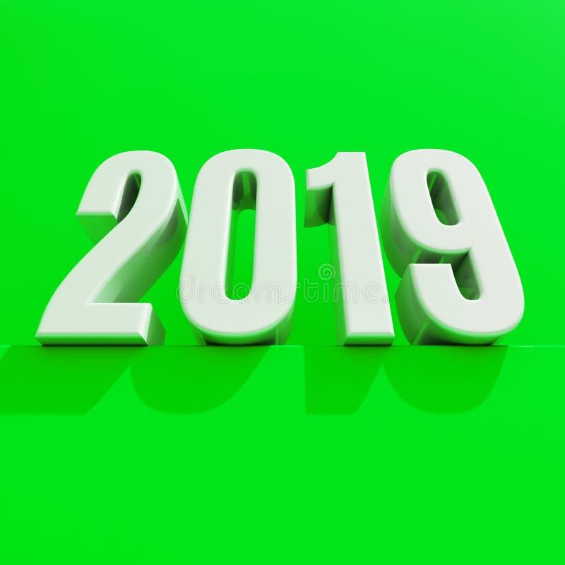 Le concept de construction créatif du rouge 2019 de nouvelle année 3D a rendu l'image illustration de vecteur