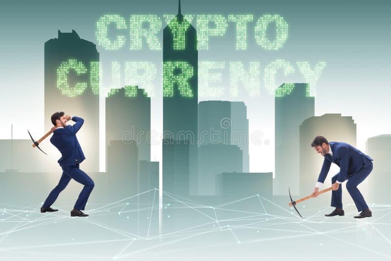 Le concept de cryptocurrency avec l'argent d'exploitation d'homme d'affaires photo stock
