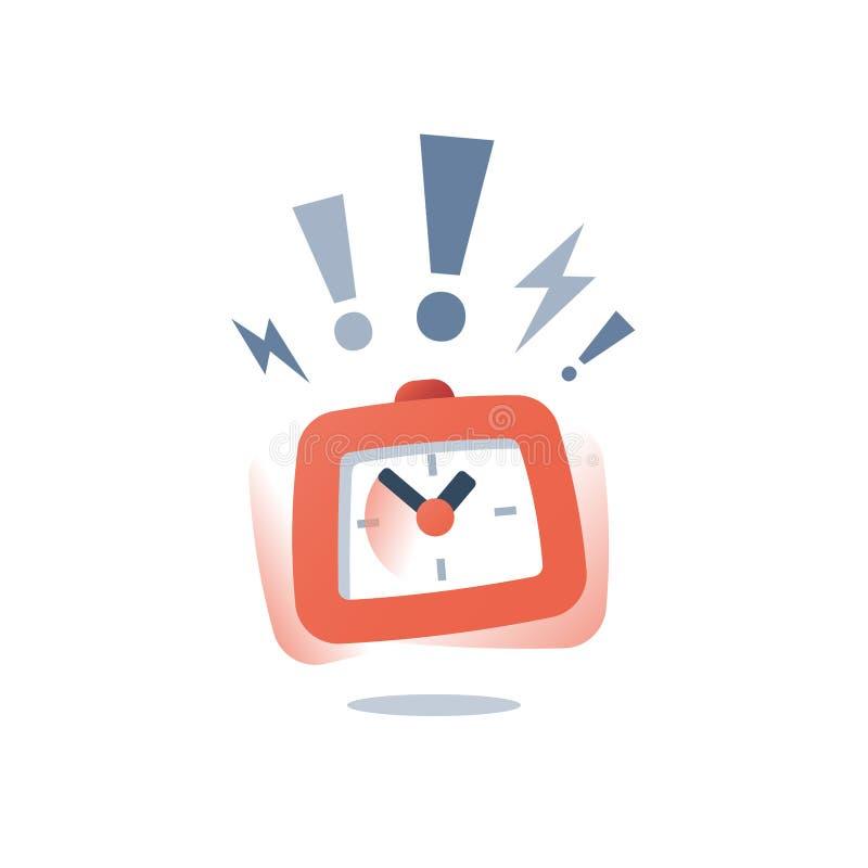 Le concept de date-butoir, occasion de dernière minute, réveil de sonnerie bruyant, fin de temps, a limité l'offre, service rapid illustration stock
