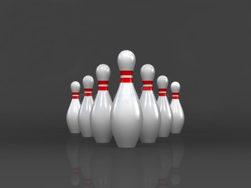 Le concept de direction d'affaires d'isolement sur le fond foncé, jeu de bowling, 3D le rendu, louant maintenant, figure se tient illustration de vecteur