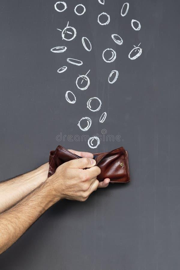 Le concept de gagner de l'argent avec un portefeuille image stock