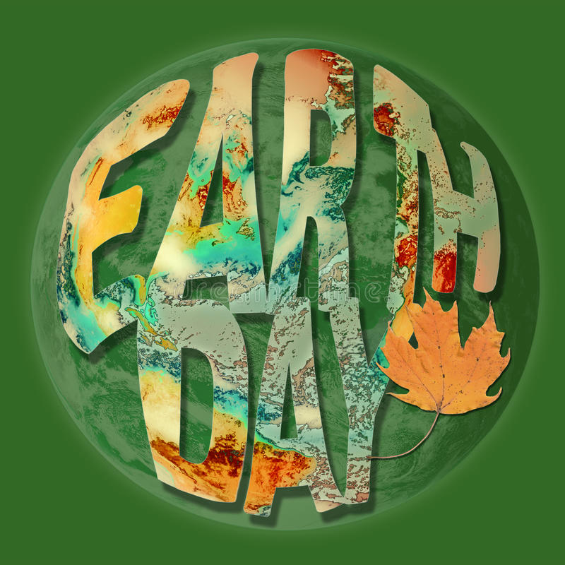 Le concept de jour de terre avec la terre a inspiré des lettres illustration stock