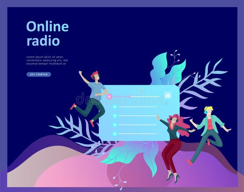Le concept de l'écoute coulante par radio en ligne d'Internet, les gens détendent pour écouter danse Applications de musique, pla illustration libre de droits