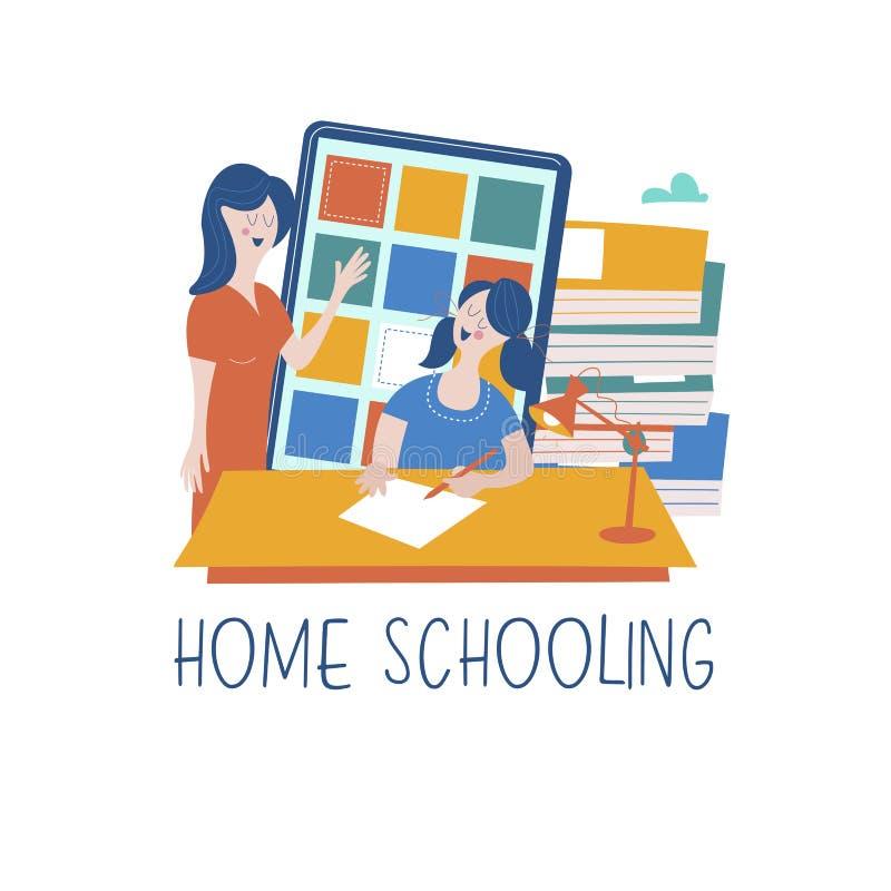 Le concept de l'enseignement à domicile Illustration de l'étude en ligne à la maison illustration stock