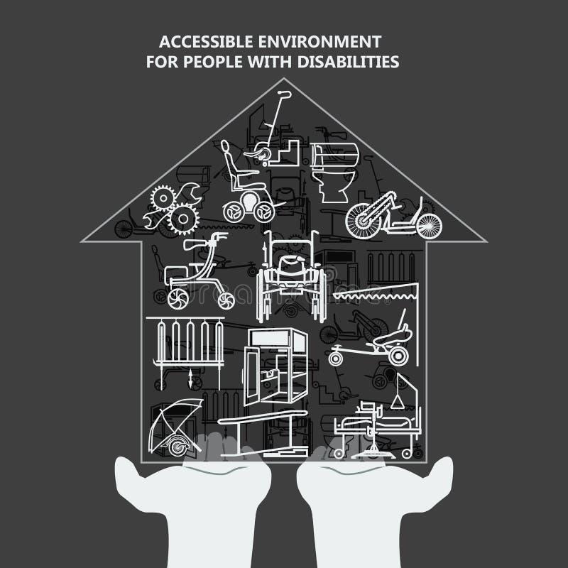 Le concept de l'environnement accessible pour des personnes handicapées Chambre avec des icônes sur les paumes illustration stock