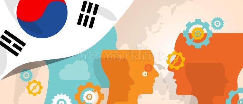 Le concept de la Corée du Sud de l'innovation croissante de pensée discutent futur fulminer de cerveau de pays sous la vue différ illustration de vecteur