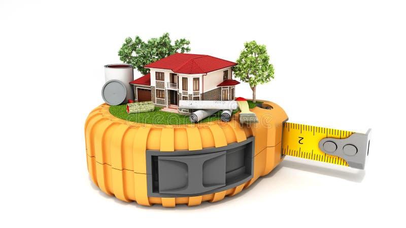 Le concept de la maison de conception de bâtiment avec des dessins et des outils est sur t image stock