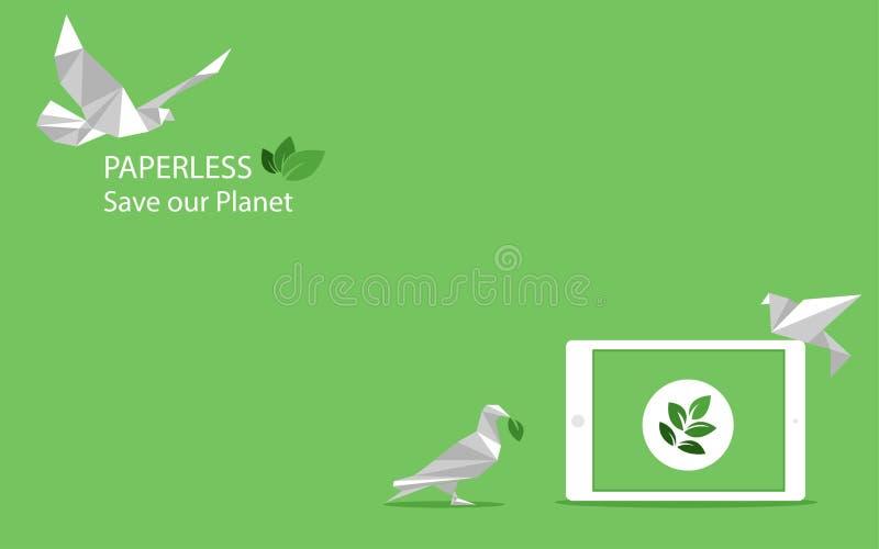 Le concept de la mouche d'oiseau de livre blanc sans papier vont vert, sauvent la planète illustration stock
