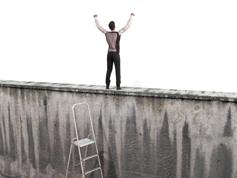 Le concept de la poursuite de l'homme du succès A sur le mur illustration de vecteur