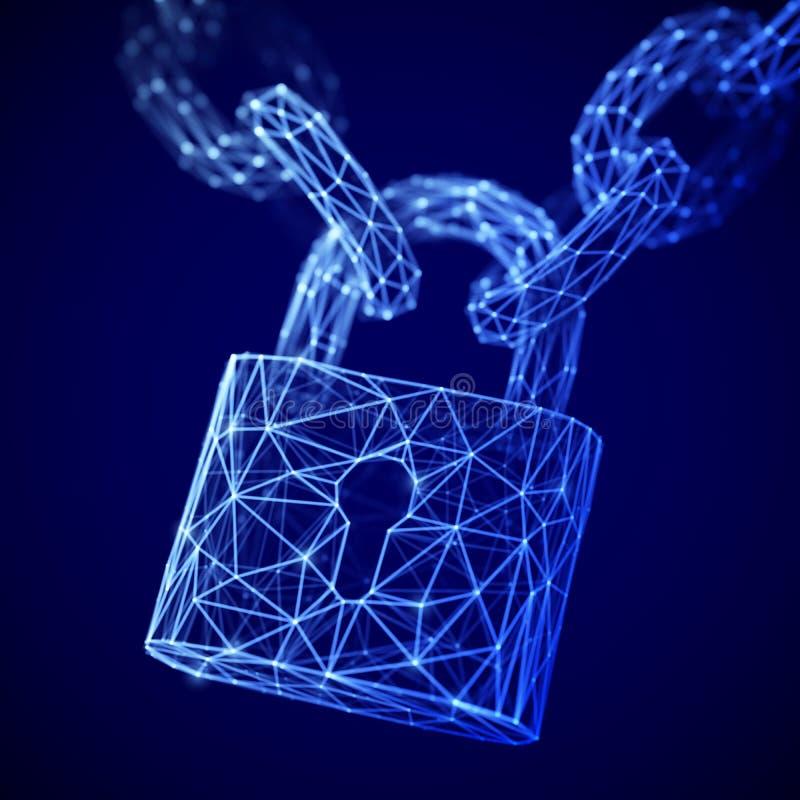 Le concept de la protection de données numériques : une serrure fermée polygonale sur la chaîne illustration de vecteur