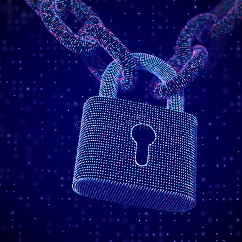 Le concept de la protection de données numériques : une serrure fermée sur la chaîne illustration de vecteur