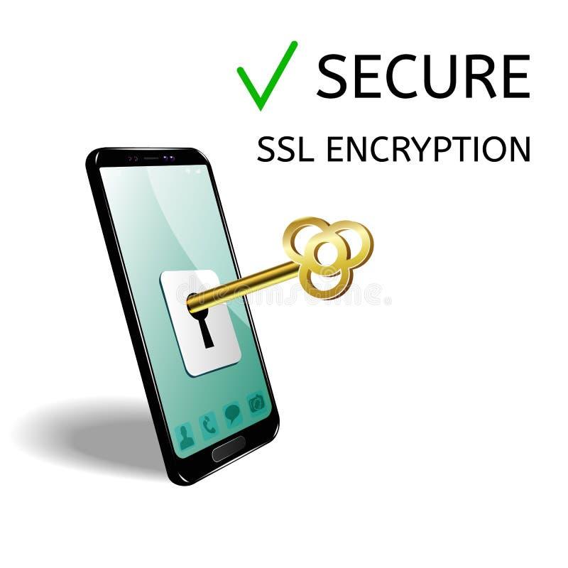 Le concept de la protection de téléphone portable L'image et la clé de téléphone pour ouvrir et fermer l'accès à l'information illustration stock