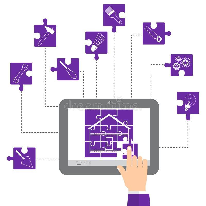 Le concept de la retouche à la maison La maison sous forme de puzzle et les icônes réparent des outils dans le pourpre Main rasse illustration libre de droits