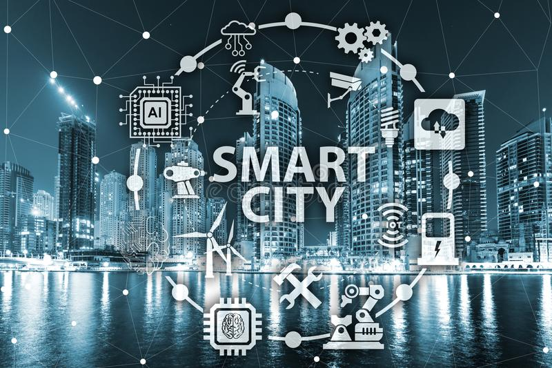 Le concept de la ville et de l'Internet futés des choses images libres de droits
