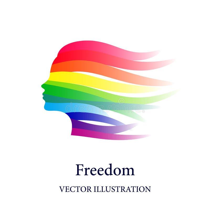 Le concept de liberté avec le visage femelle s'est composé des rubans d'arc-en-ciel dans le vent illustration stock