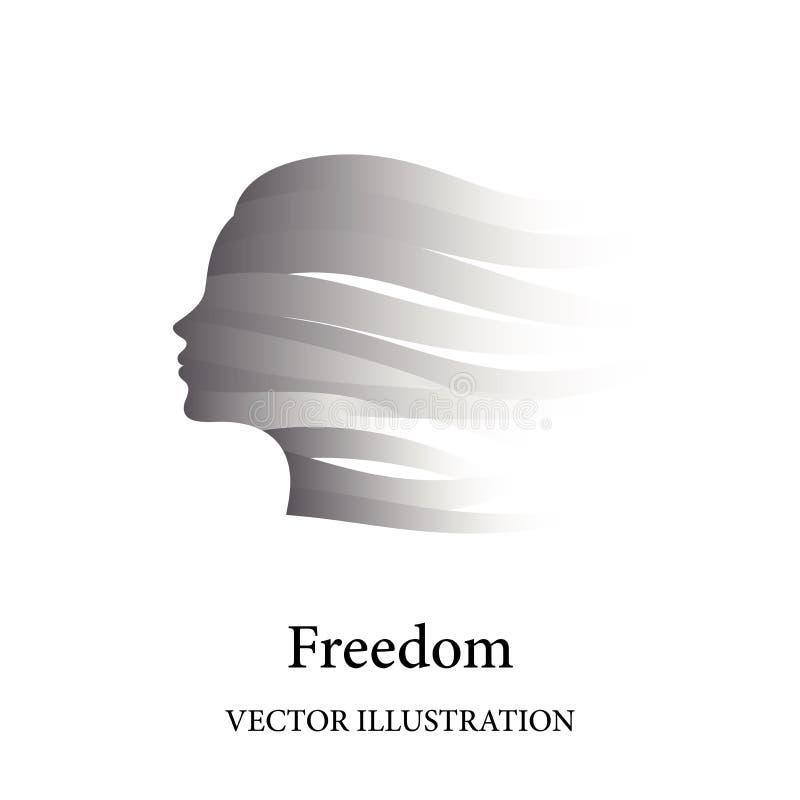 Le concept de liberté avec le visage femelle s'est composé des rubans gris dans le vent illustration libre de droits
