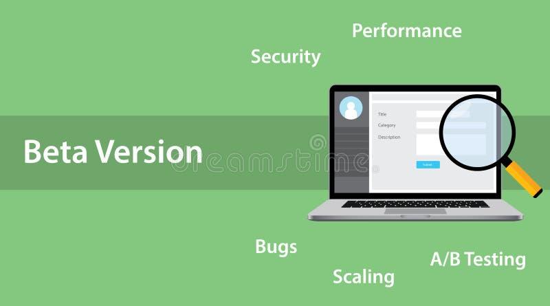 Le concept de logiciel de version bêta avec l'erreur d'ordinateur portable et de loupe branchent sur table d'écoute illustration libre de droits