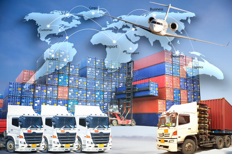 Le concept de logistique, tracent la technologie globale international de relation d'affaires photo stock