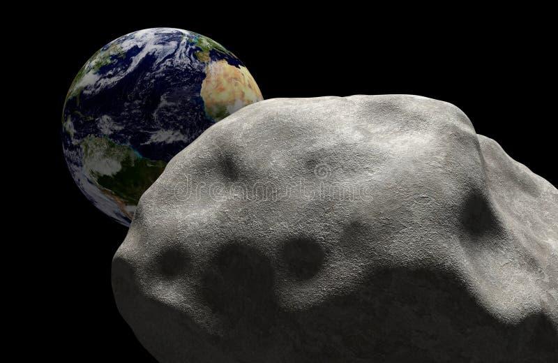 Le concept de masse d'extinction d'une comète dans l'espace s'est dirigé pour l'impact avec la terre de planète Éléments de cette illustration stock