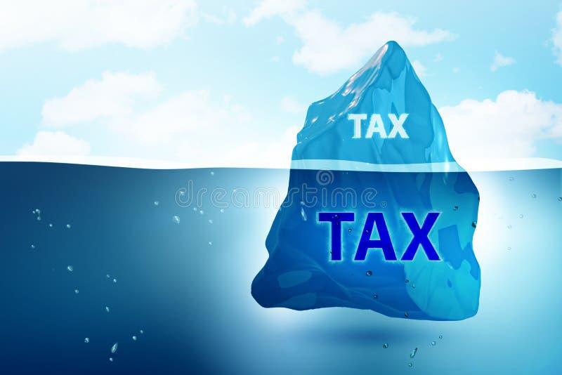 Le concept de paiement d'impôts avec l'iceberg - rendu 3d illustration de vecteur