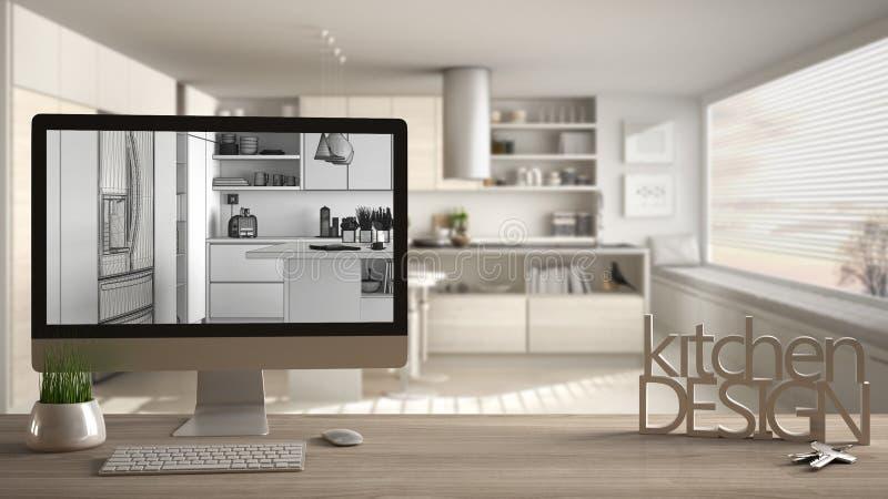 Le concept de projet de concepteur d'architecte, la table en bois avec des clés de maison, la conception de cuisine de lettres et illustration de vecteur