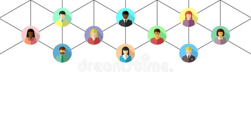 Le concept de réseau avec les personnes diverses s'est relié par des lignes illustration stock